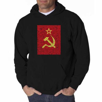 Los Angeles Pop Art Lyrics to the Soviet NationalAnthem Long Sleeve Word Art Hoodie