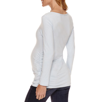 Long Sleeve Ruched Scoop Neck T-Shirt-Maternity