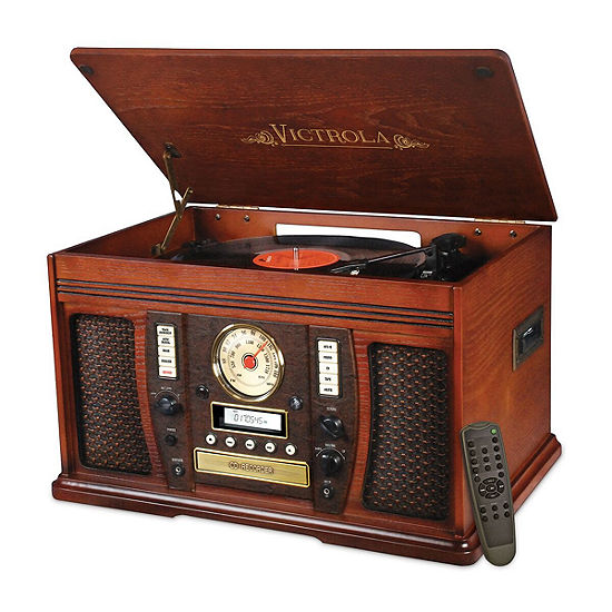 Victrola Vta 750b Aviator Wooden 7 In 1 Nostalgic Record Player With Bluetooth And Digital Cd Encoding