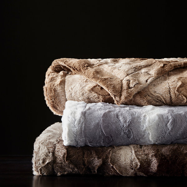 Madison Park Marselle Faux Fur Bed Throw