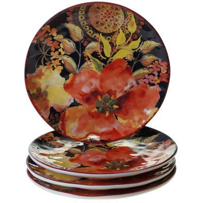 Certified International Watercolor Poppies 4-pc. Dessert Plate