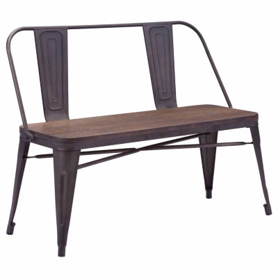 Elio Metal/Rustic Wood Double Bench
