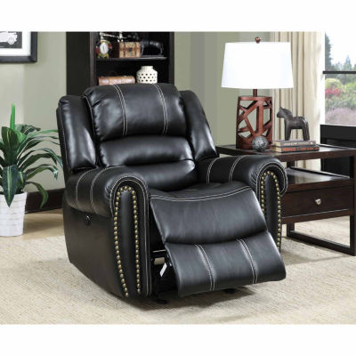 Bismarck Contemporary Faux Leather Pad-Arm Chair