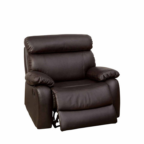 Leonard Leather Pad-Arm Recliner
