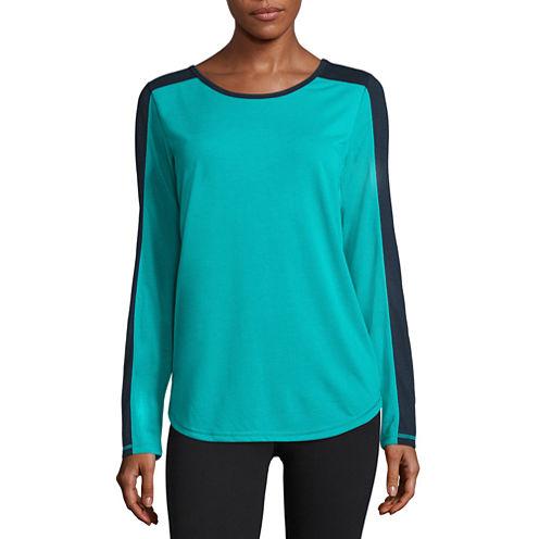 Xersion Long Sleeve Scoop Neck T-Shirt-Womens