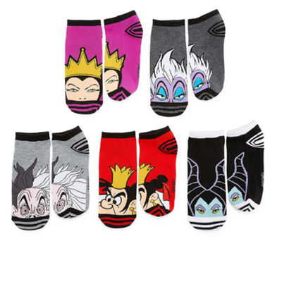 Disney Villains 5 Pair No Show Socks - Womens