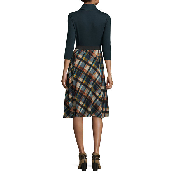Robbie Bee 3/4 Sleeve Plaid Fit & Flare Dress-Petites