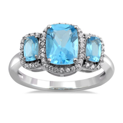 Womens Genuine Blue Topaz & Lab-Created White Sapphire Sterling Silver Cocktail Ring