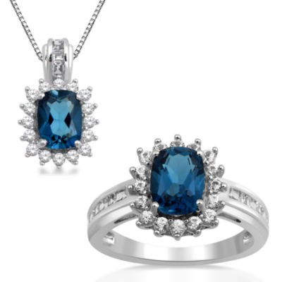 Womens 2-pc. Genuine Blue Topaz & Lab-Created White Sapphire Sterling Silver Jewelry Set