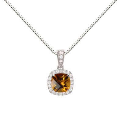 Womens Genuine Yellow Citrine Round Pendant Necklace