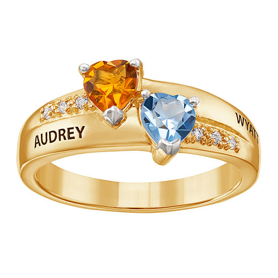 Personalized Womens Cubic Zirconia 18K Gold Over Silver Heart Cocktail Ring