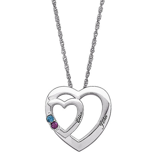 Personalized Womens Crystal Sterling Silver Round Pendant Necklace