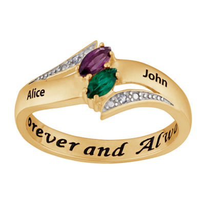 Personalized Womens Diamond Accent Crystal 18K Gold Over Silver Oval Cocktail Ring