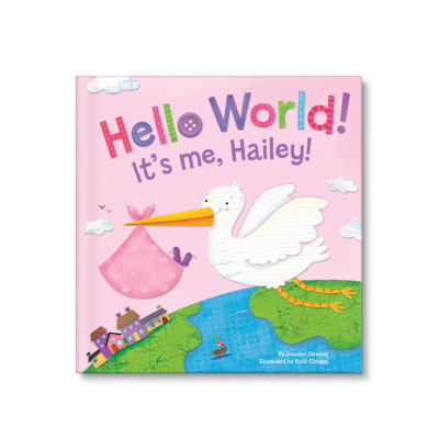 Hello World! Personalized Board Book for Girls