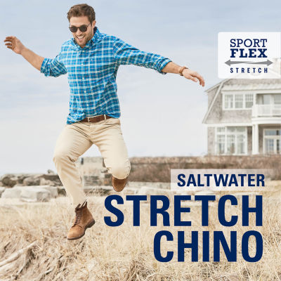 IZOD Saltwater Stretch Straight Fit Flat Front Chino Pant