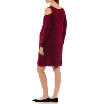Three Seasons Maternity Cold Shoulder Solid Dress - Maternity