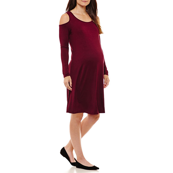 Three Seasons Maternity Cold Shoulder Solid Dress