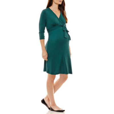 Three Seasons Maternity 3/4 Sleeve Wrap Dress-Maternity