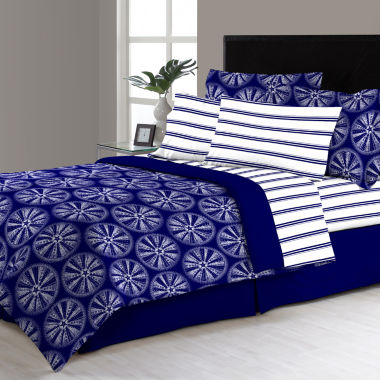 Delray Navy Complete Bedding Set with Sheets