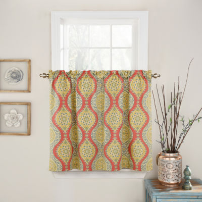 Waverly Moonlight Medallion Rod-Pocket Window Tiers