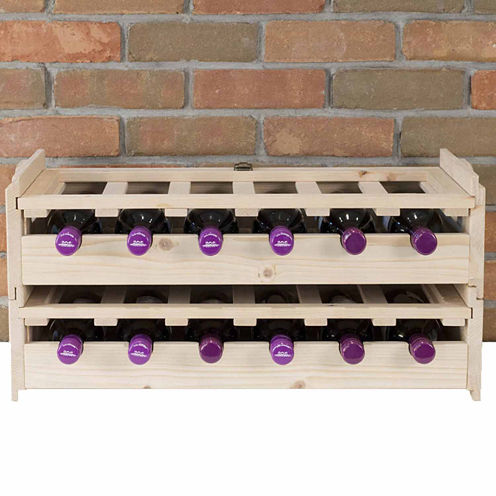 Stackable Wood 2-pc. Wine Cabinet Set