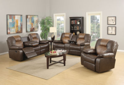Jordana Two-Tone Brown Bonded Leather Recliner Loveseat