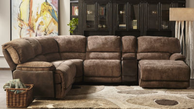 Kelton Mocha Brown 2 Tone Power Recliner Sectionalin  Polyester Fabric