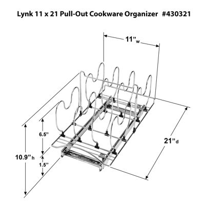 Lynk Professional® Roll-Out Cookware Organizer – Pull-Out Under- Cabinet Sliding Rack – 11 inch wide x 21 inch deep - Chrome