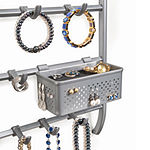 Lynk® Over Door or Wall Mount Jewelry Organizer Rack with Hooks - Necklace, Bracelet, & Earring Holder– Platinum