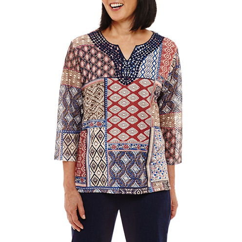 Alfred Dunner Gypsy Moon 3/4 Sleeve Split Crew Neck Patchwork T-Shirt-Womens