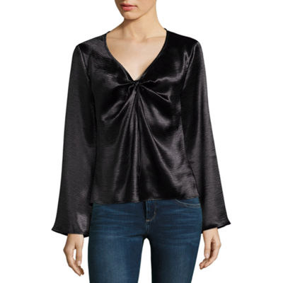 Belle + Sky Long Sleeve Satin Twist Front Top