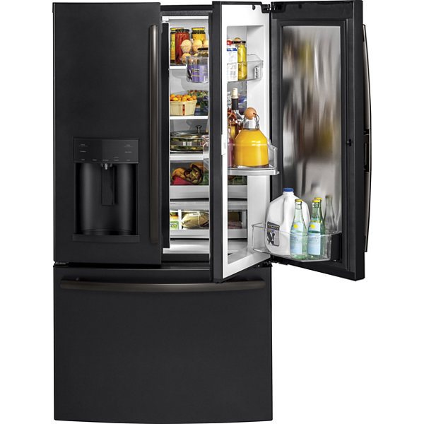 french door refrigerator with door in door ge   gdt695sflds 4 pc  gas kitchen package  black stainless   jcpenney  rh   jcpenney com