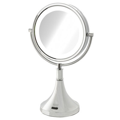 Sharper Image 8X-1X LED Lighted Table Mirror w/Motion Sensor