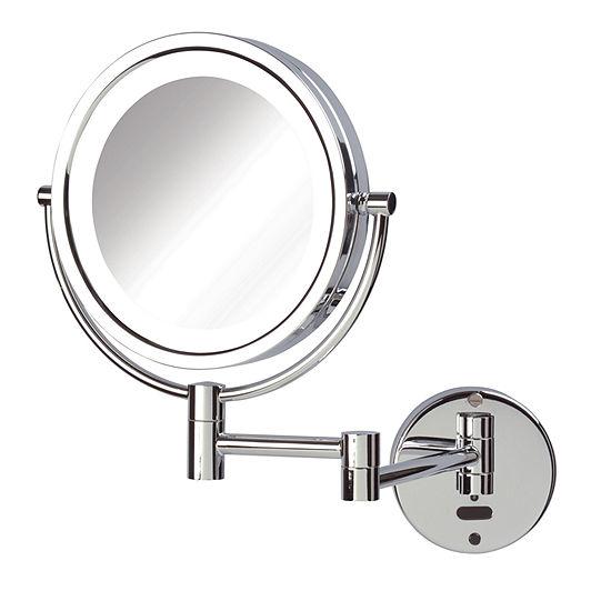 Sharper Image 8X-1X LED Lighted Wall Mirror w/Motion Sensor