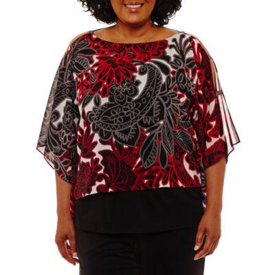 Lark Lane Elbow Sleeve Georgette Kimono Blouse-Plus