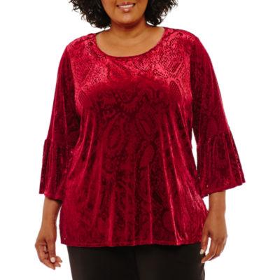 Lark Lane Well Red Ikat Velvet Tunic- Plus