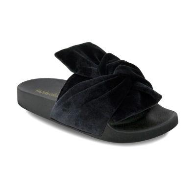 Olivia Miller Velvet Bow Womens Slide Sandals