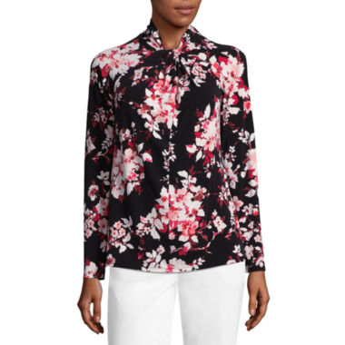 Liz Claiborne Long Sleeve Twist Neck Floral Blouse - Tall