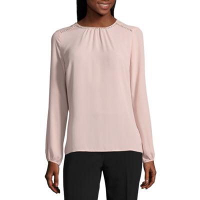 Liz Claiborne Long Sleeve Woven Blouse- Talls
