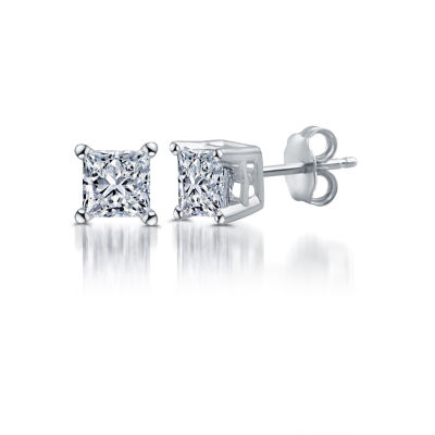 Deluxe 1/4 CT. T.W. Princess White Diamond 14K Gold Stud Earrings