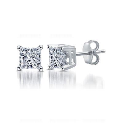 Deluxe 1/2 CT. T.W. Princess White Diamond 14K Gold Stud Earrings