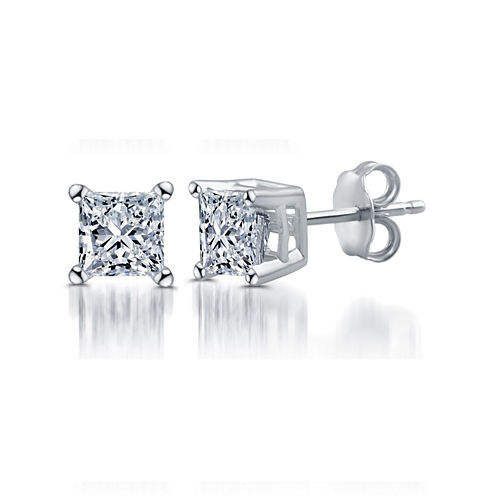 Deluxe 1/2 CT. T.W. Princess White Diamond 14K Gold Stud Earrings