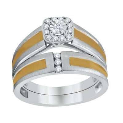 Womens 1/8 CT. T.W. Genuine White Diamond 10K Gold Bridal Set