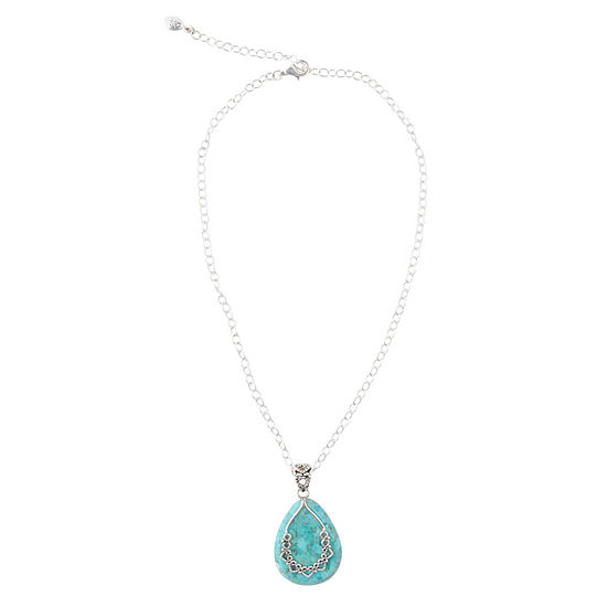 Silver Elements by Barse Womens Lab Created Blue Turquoise Sterling Silver Pendant Necklace