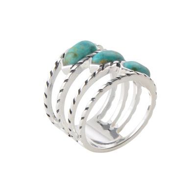 Silver Elements by Barse Womens Lab Created Blue Turquoise Sterling Silver Band