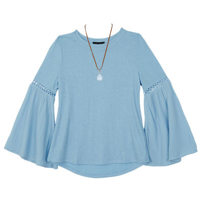 by&by girl Long Sleeve Round Neck T-Shirt-Big Kid Girls
