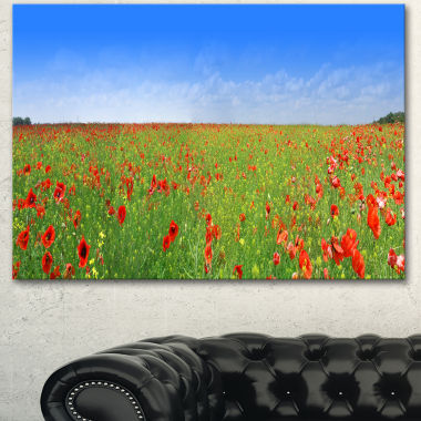 Designart Poppy Meadow Panorama Landscape CanvasArt Print