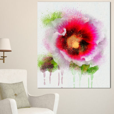 Design Art Poppy With Green Watercolor Splashes Floral Canvas Art Print
