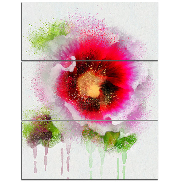 Designart Poppy With Green Watercolor Splashes Floral Canvas Art Print - 3 Panels