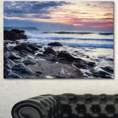 Designart Portholland Rocky Seashore Seashore Canvas Art Print - 3 Panels